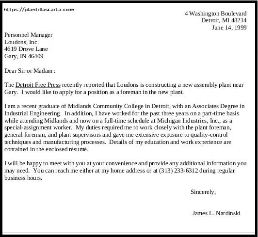 Carta de solicitud de la Universidad