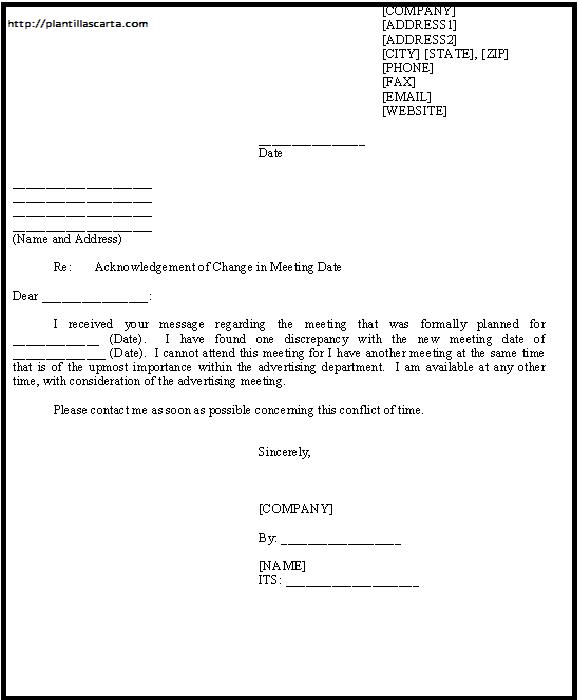 Reconocimiento del cambio en la carta de fecha de la reunión