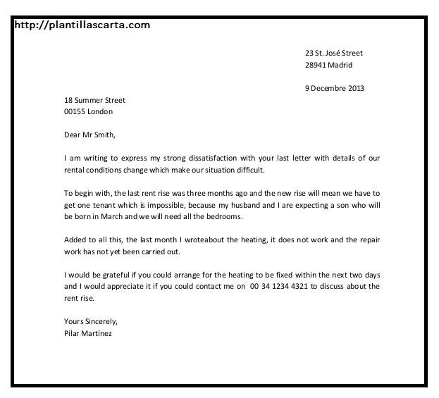 Ejemplo de carta de notificación de entrega
