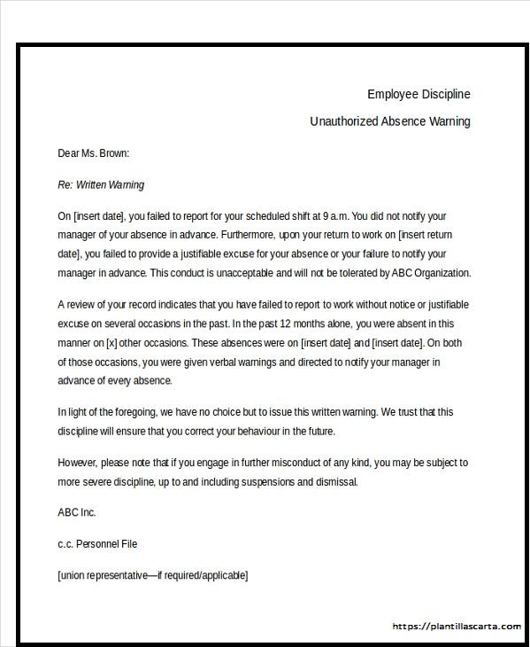 Carta de advertencia al empleado por absence