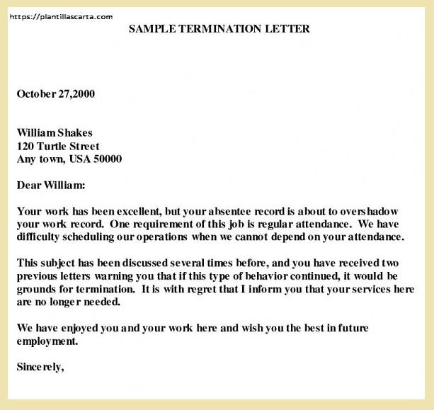 Carta de cancelación del contrato de trabajo