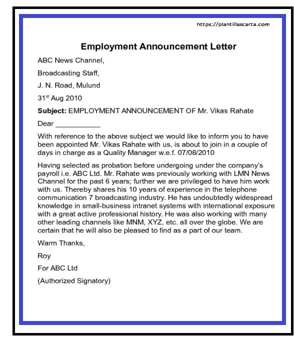 Carta de anuncio de empleo