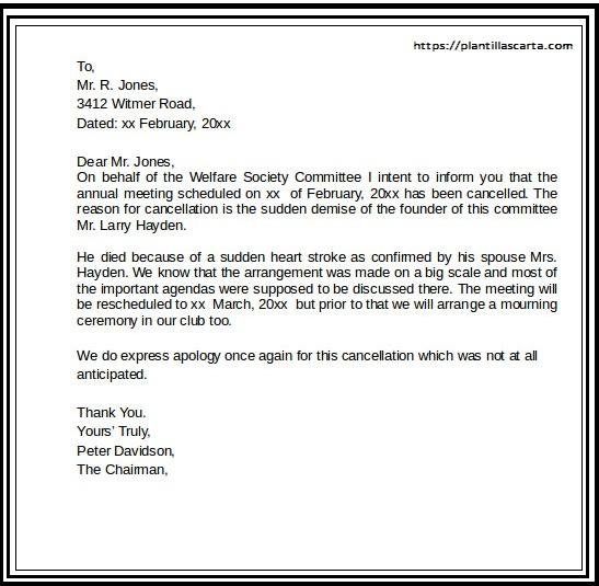 Carta de cancelación del evento