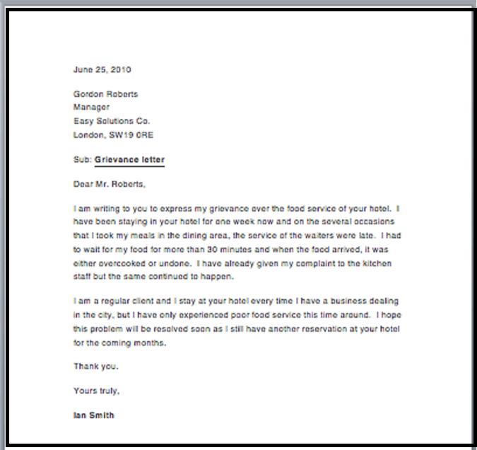 Carta de queja al empleador