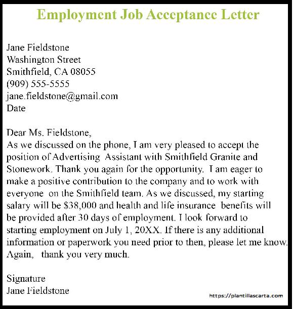 Carta de aceptación de empleo