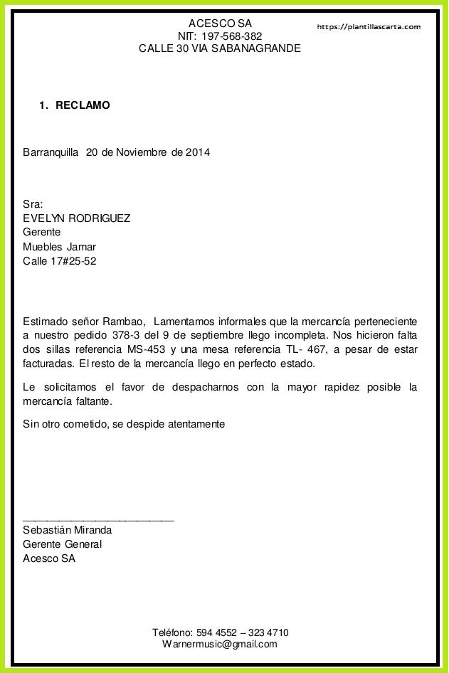 Carta de queja de entrega