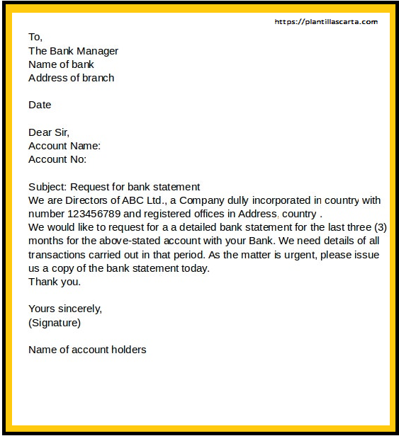 Carta al Gerente del Banco