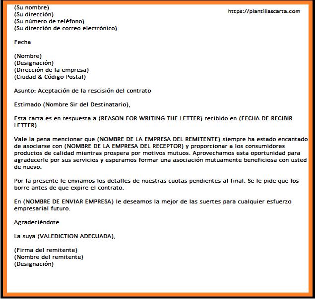 Carta de Aceptación por Terminación Comercial