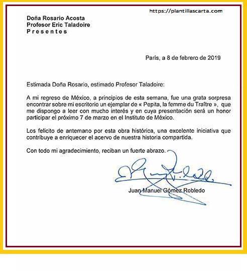 Carta de aceptación de honor