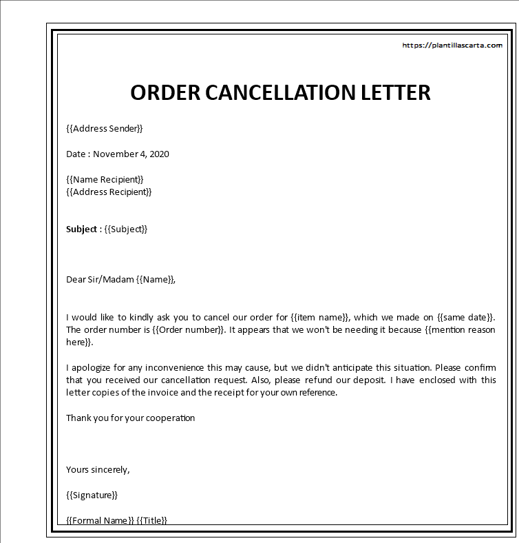 Carta para cancelar un pedido