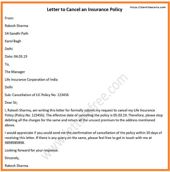 Carta de cancelación del Seguro