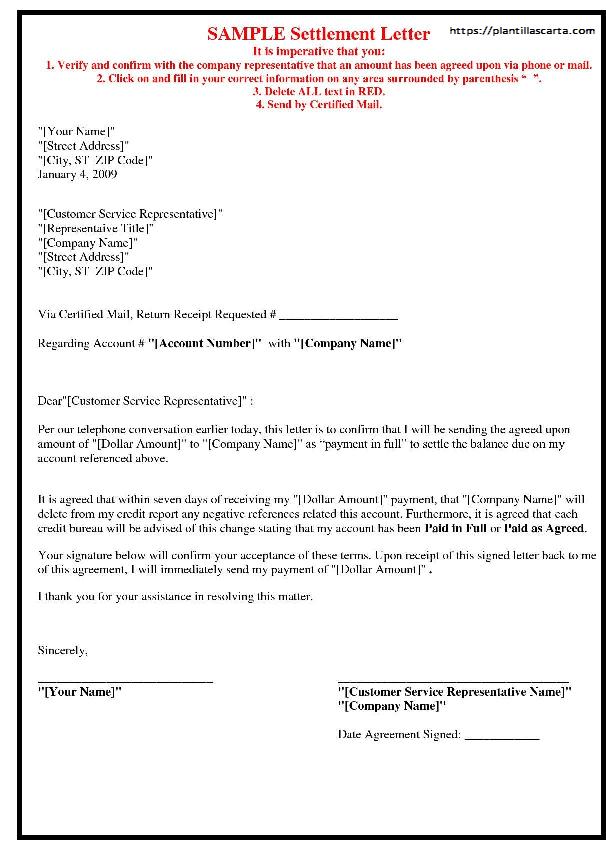 Carta de liberación de liquidación