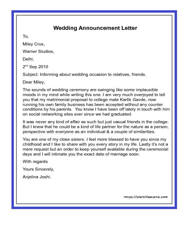 Carta de anuncio de boda