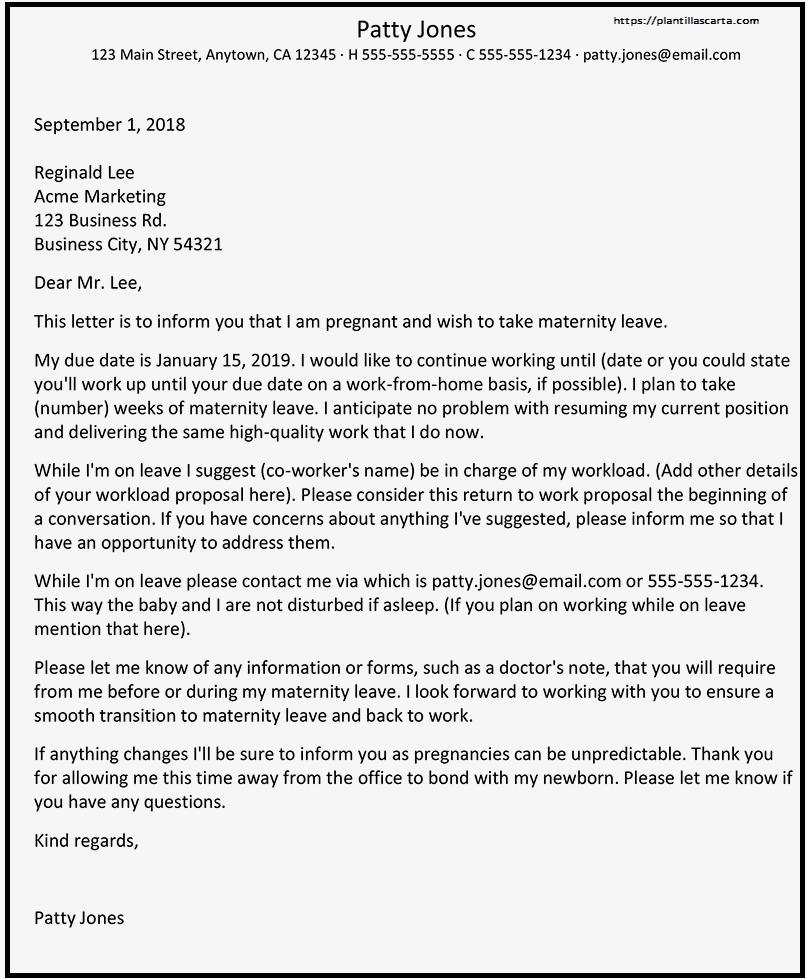 Carta de Anuncio de Embarazo