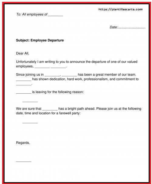 Carta de anuncio de terminación