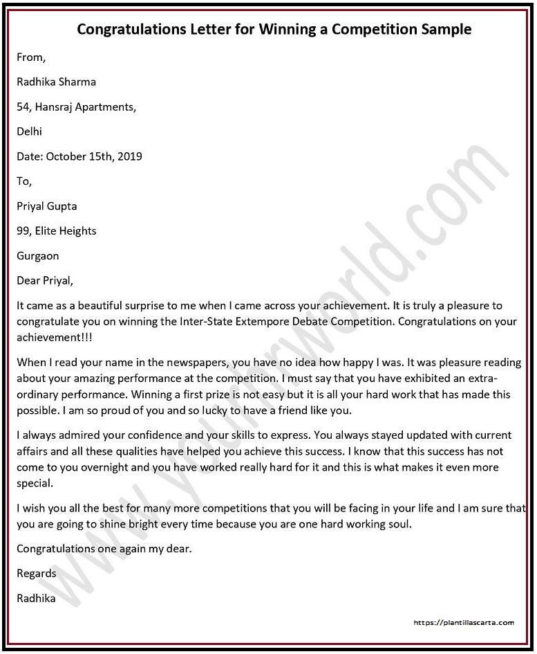 Carta de anuncio del ganador