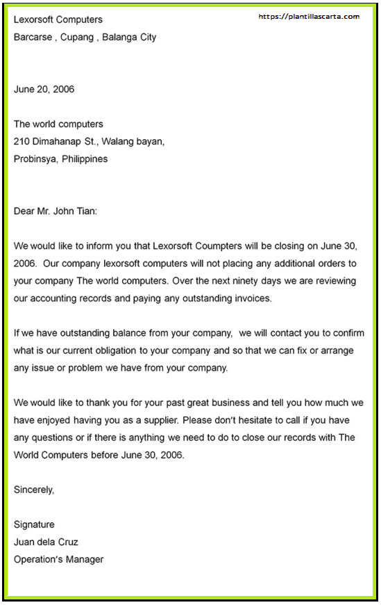 Carta de anuncio formal