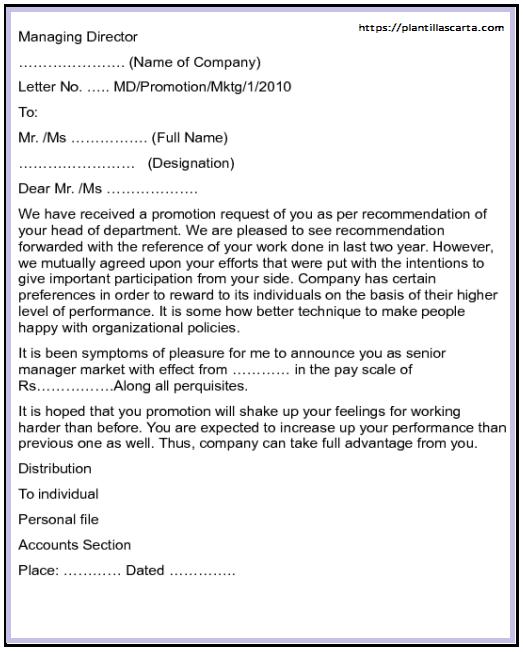 Carta de anuncio de promoción