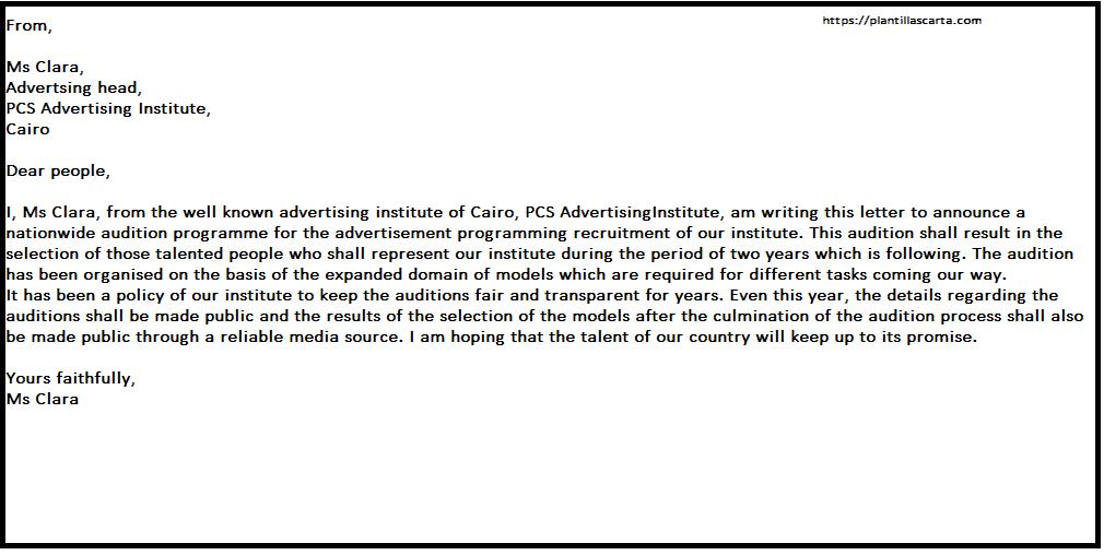 Carta de anuncio de audicion