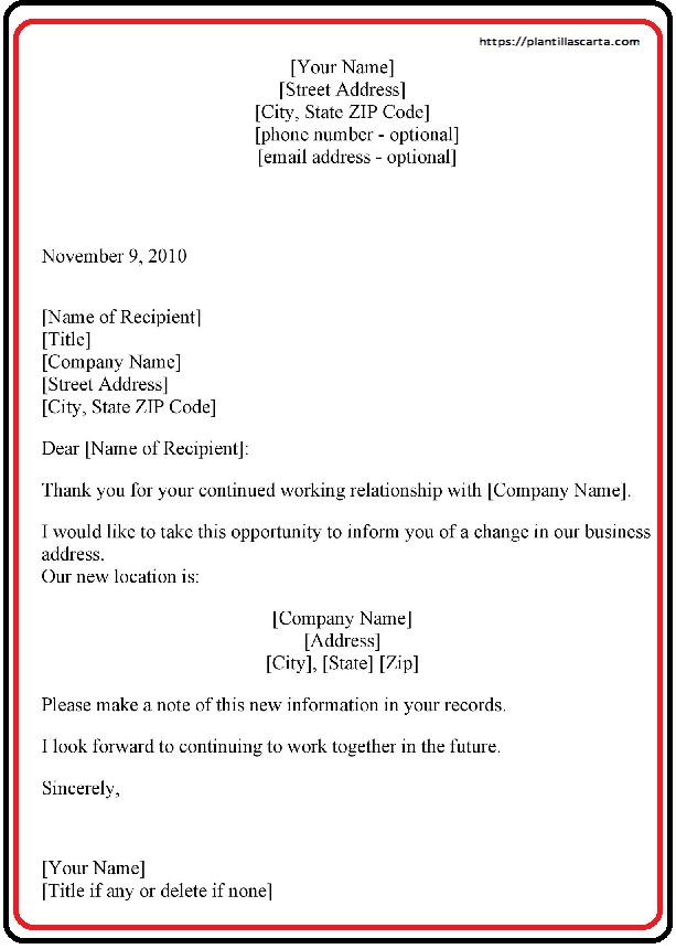 Carta de anuncio de cambio de propiedad