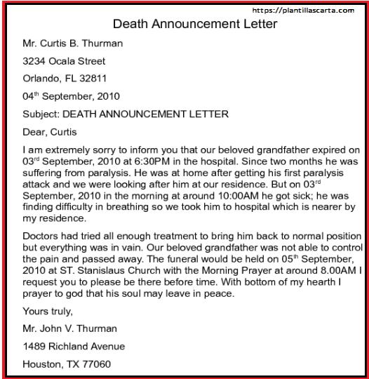 Carta de anuncio de muerte