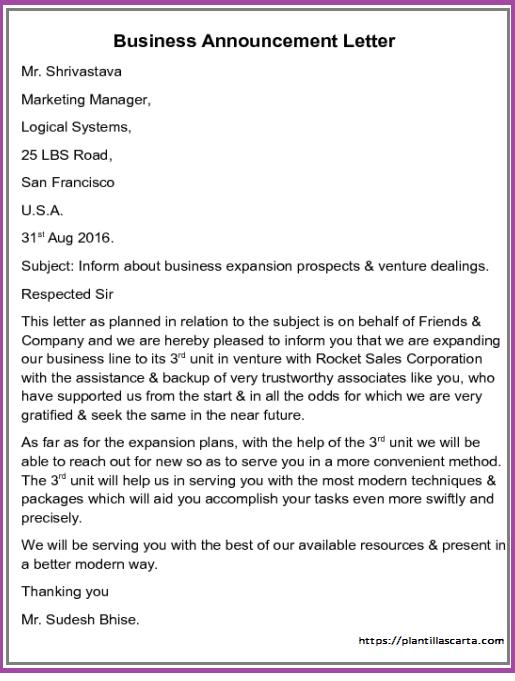 Carta de anuncio de negocio