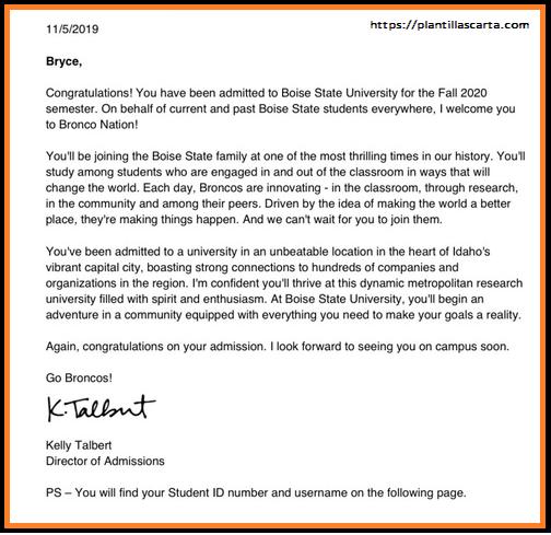 Carta de aceptación de la Universidad