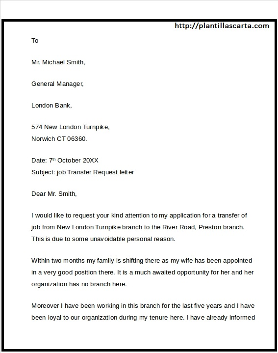 Carta de transferencia de empleo