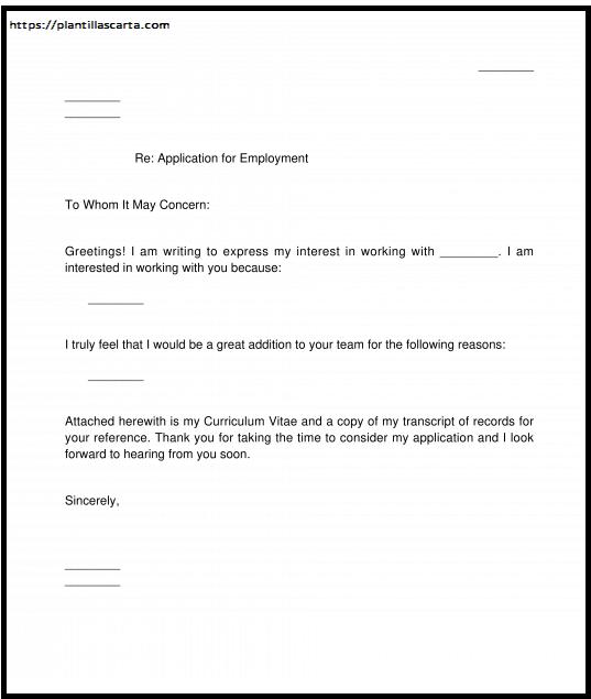 Carta de solicitud de empleo