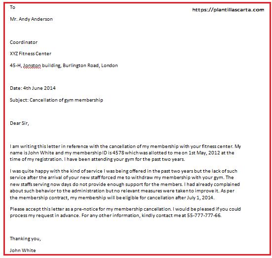 Cancelación de la carta de membresía