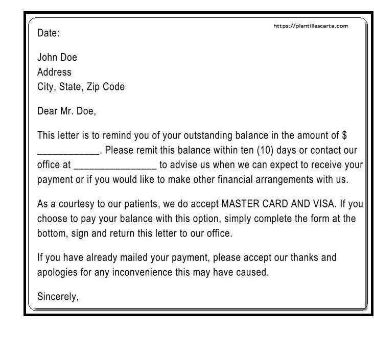Carta de recordatorio de pago vencida