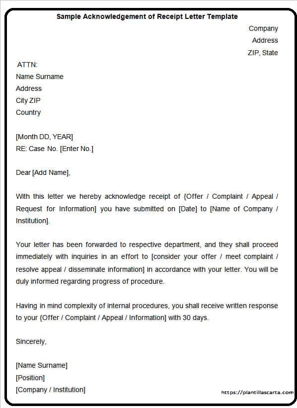 Carta de acuse de recibo