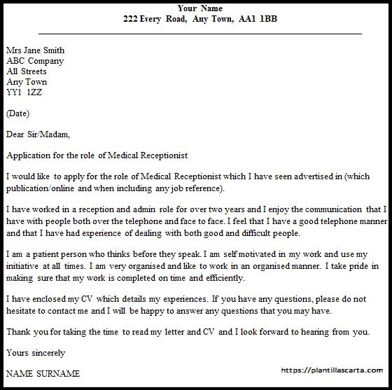 Carta de solicitud de recepcionista