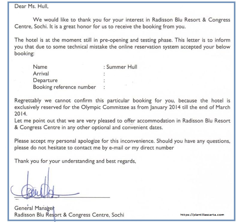 Carta para cancelar una reserve