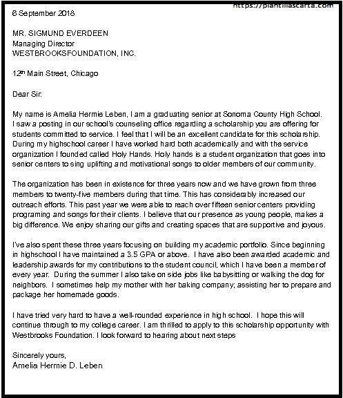 Carta de solicitud de beca