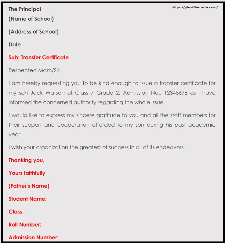 Carta de transferencia de la escuela