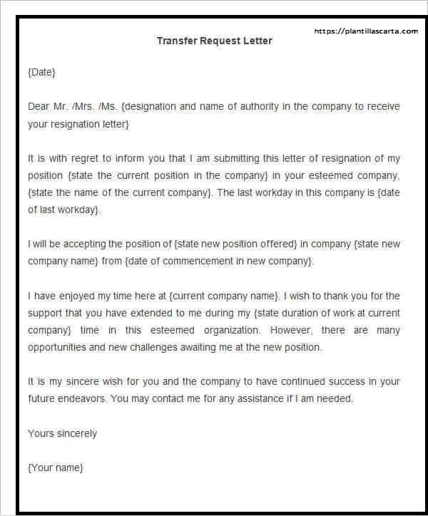 Carta de solicitud de transferencia