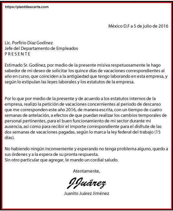 Carta oficial de vacaciones