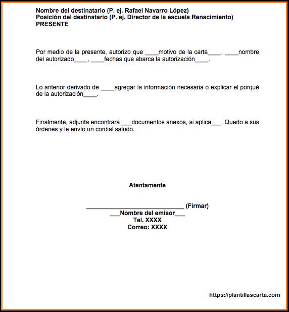 Carta de autorización de trabajo