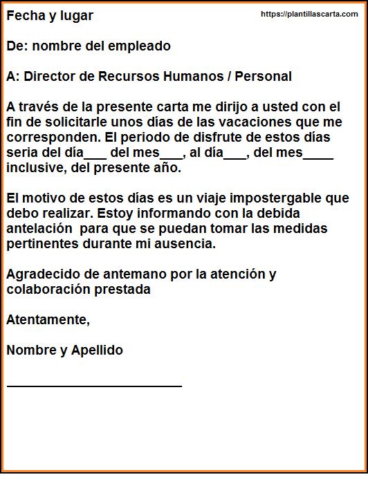 Carta de vacaciones corporativas