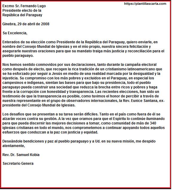 Carta de felicitación por las elecciones