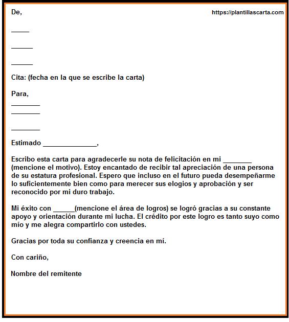 Carta de respuesta de felicitación