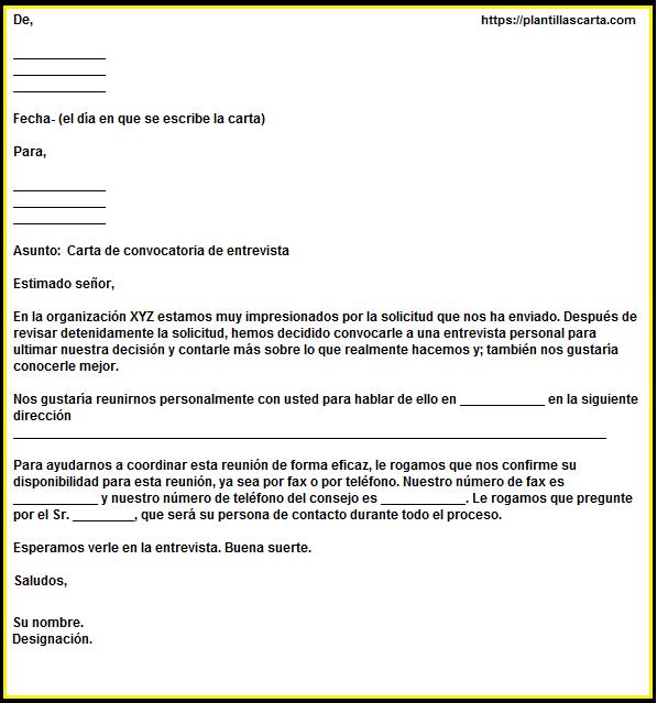 carta de convocatoria de entrevista
