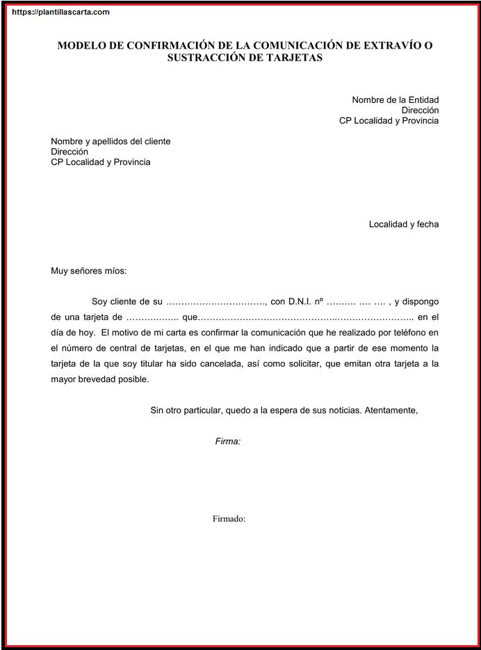 Carta de confirmación de solicitud