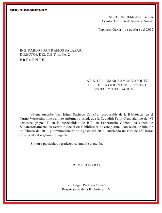 Carta de Aceptación por Terminación de Trabajo