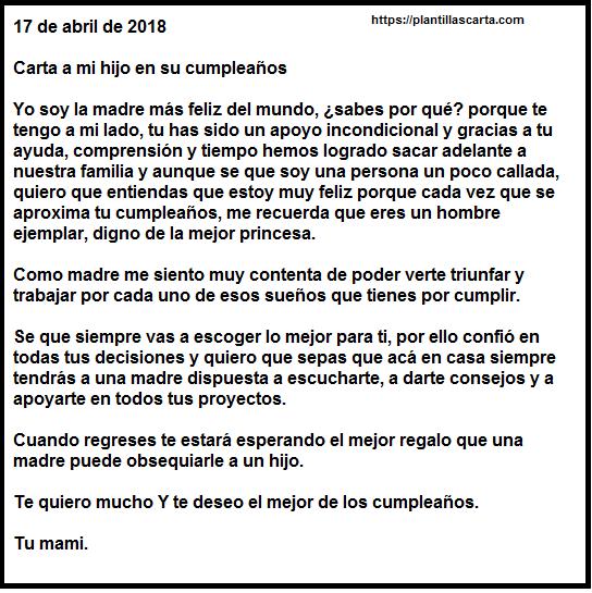 Carta de cumpleaños de muestra