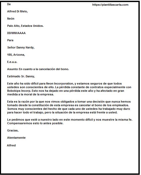 Carta de cancelación de bono