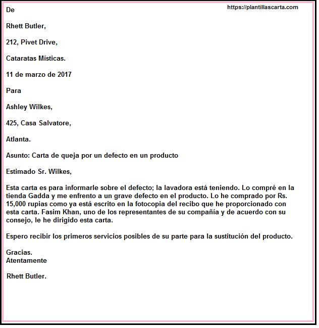 Carta de información para defectos