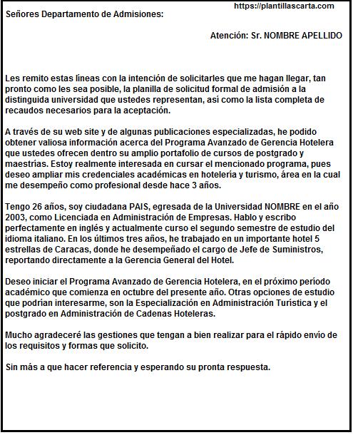 Carta de consulta de admisión