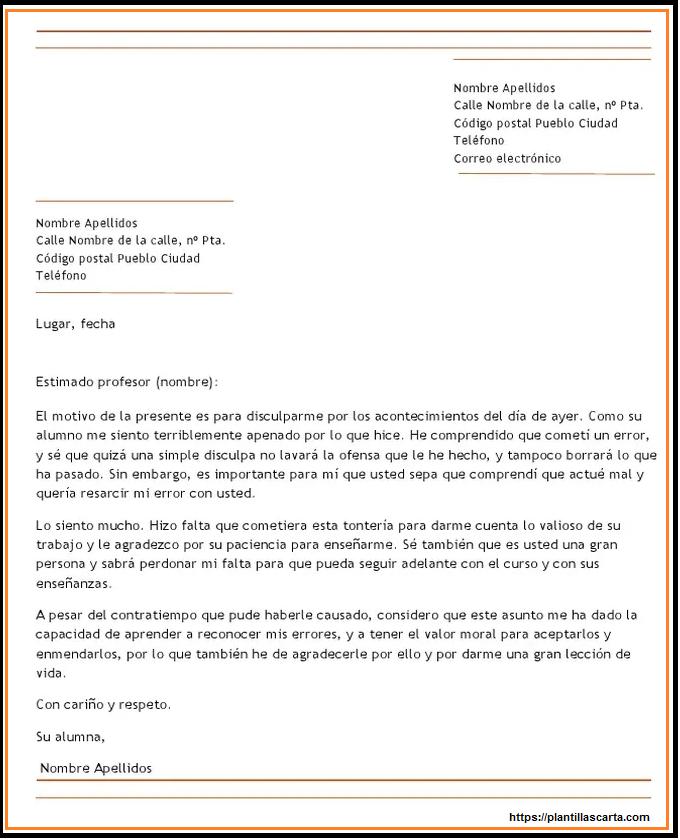 Carta de disculpa